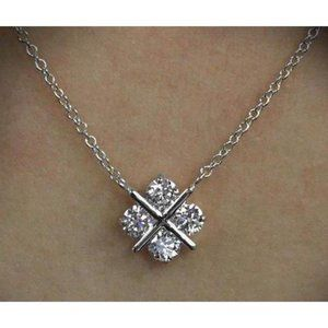 Jewelry - 3 ct round diamond cross heart style lady necklace